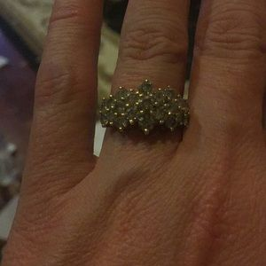 Champagne diamond cluster ring size 6 14 k gold